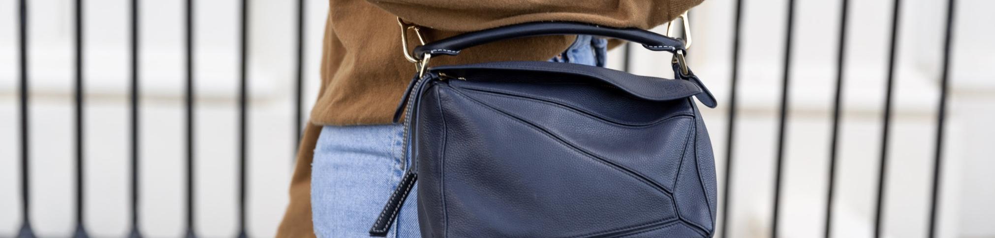 A close up photo of Anna's Loewe Bag.
